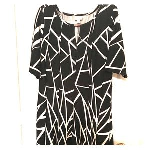 Avenue Black and White Knee-Length Dress